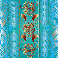 Paisley floral seamless pattern. Light blue background wallpaper illustration with vintage, gold 3d flowers, leaves, and striped  ornaments. Vector surface texture for fabric, linen,curtain, textile