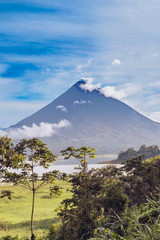 View at the volcano Arenal over lake Arenal in Costa Rica