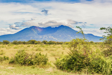 Old volcano mountain as seen from the road in Nicaragua