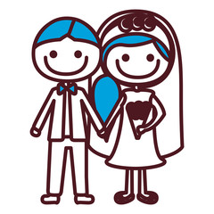 hand drawing silhouette caricature groom with formal suit and bride with blue side hairstyle vector illustration