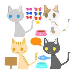 4種類の猫と付属パーツのベクターイラスト