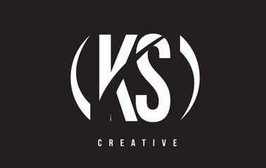 KS K S White Letter Logo Design with Black Background.