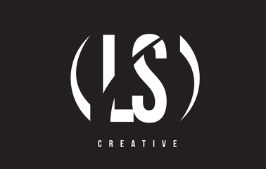 LS L S White Letter Logo Design with Black Background.