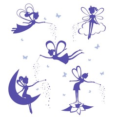 Fairy silhouette vector set.