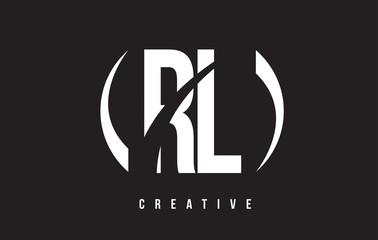 RL R L White Letter Logo Design with Black Background.