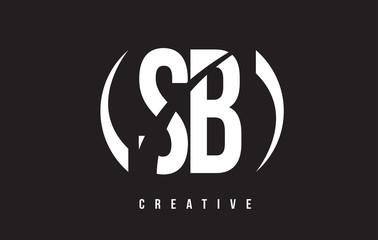 SB S B White Letter Logo Design with Black Background.