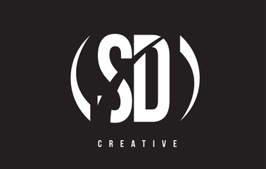 SD S D White Letter Logo Design with Black Background.