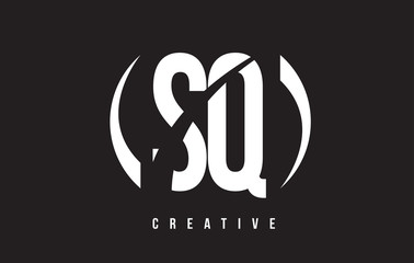 SQ S Q White Letter Logo Design with Black Background.