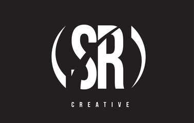 SR S R White Letter Logo Design with Black Background.
