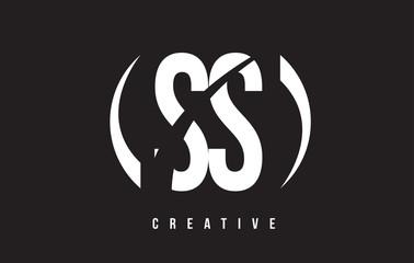 SS S S White Letter Logo Design with Black Background.
