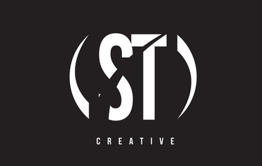 ST S T White Letter Logo Design with Black Background.