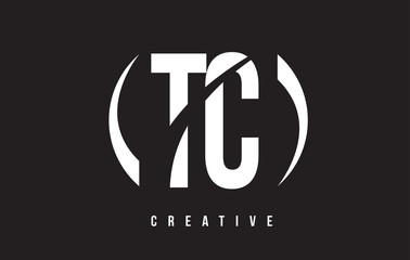 TC T C White Letter Logo Design with Black Background.