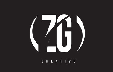 ZG Z G White Letter Logo Design with Black Background.