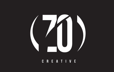 ZO Z O White Letter Logo Design with Black Background.