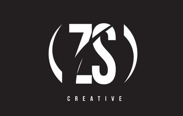 ZS Z S White Letter Logo Design with Black Background.