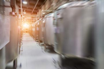 Modern Beer Factory. Small steel tanks for fermentation of beer.