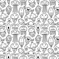 Wall Mural - Seamless vector pattern with jellyfish