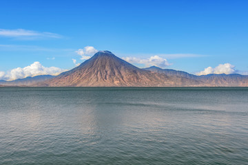 Picture of a volcano on the far side of Lake Atitlan from Panajachel, Guatemala.