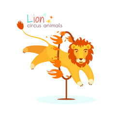 Circus lion jumps through the hoop and the fire. Trained predatory animal performs dangerous trick at circus arena. Vector illustration in cartoon style for ticket, invitation, card, flyer