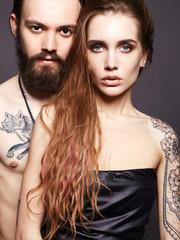beautiful couple with tattoo
