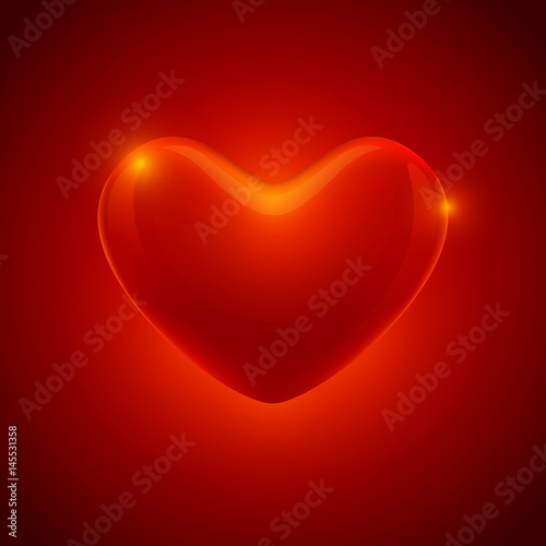 Red Glowing Heart On Gradient Background Vector Illustration