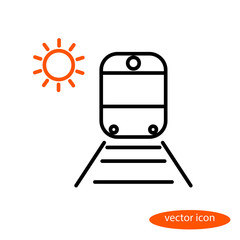 Simple vector image of a train on rails with sleepers and orange sun, a flat line icon for a travel agency
