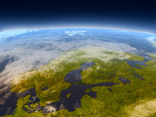 Scandinavian Peninsula from space