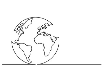 continuous line drawing of globe