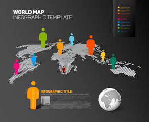 World map infographic template with figures