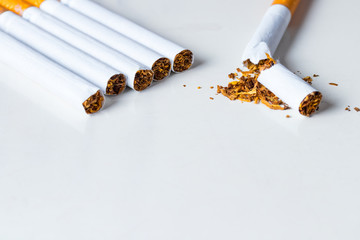 Bunch of cigarettes with one broken on white background.