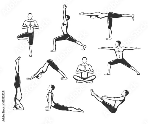 Yoga Workout Silhouettes Of A Man In Tree Sirsasana Boat Warrior One