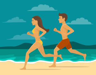 Man and woman, couple running jogging on the beach. healthy active summer  beach lifestyle activity