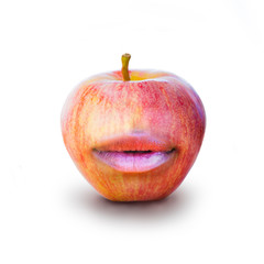 Creative photo manipulation of glossy, pouty lips and a ripe red apple