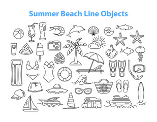Summer Beach Line Objects Set.