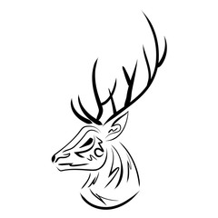 Handdrawn sketchy vector deer head contour