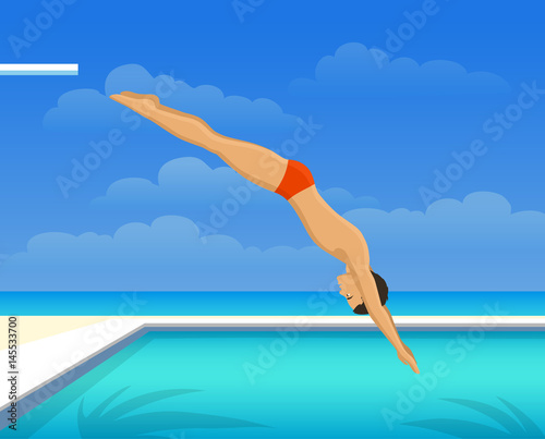 Man Diving Into Swimming Pool Stock Image And Royalty Free Vector Files On Pic
