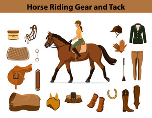 Equestrian Sport Equipment Set. Horse riding gear and tack accessories.