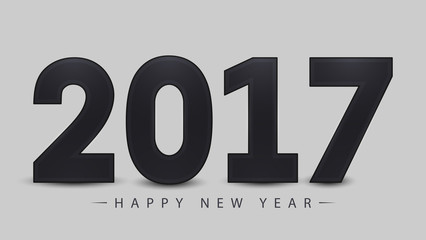 2017 Happy New Year on gray background. Vector illustration. EPS10