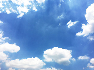 White clouds and blue sky background