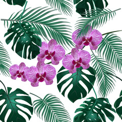 Jungle. Green tropical leaf, orchid flowers and palm leaves. Seamless floral pattern. Isolated on white background. illustration
