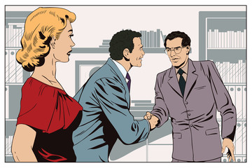 Girl looks at Two business man shaking hands. Stock illustration.