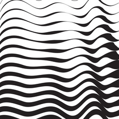 Halftone pattern background striped waves. Vector lines waved texture