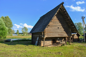 Wooden barn in the village, Russia