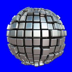 Metallic cube sphere on blue background