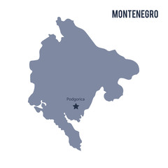 Vector map of Montenegro isolated on white background.
