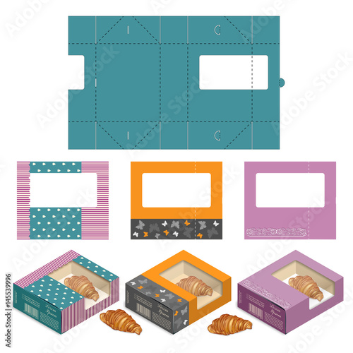 Gift Box Packaging Template Set Of Rectangle Cake Box Design