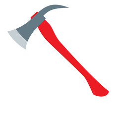Firefighters Axe with red handle. Flat design vector illustration