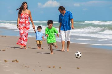 Mother Father Parents Boy Children Family Beach Football Soccer