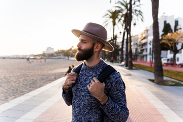 Young male traveler outdoors