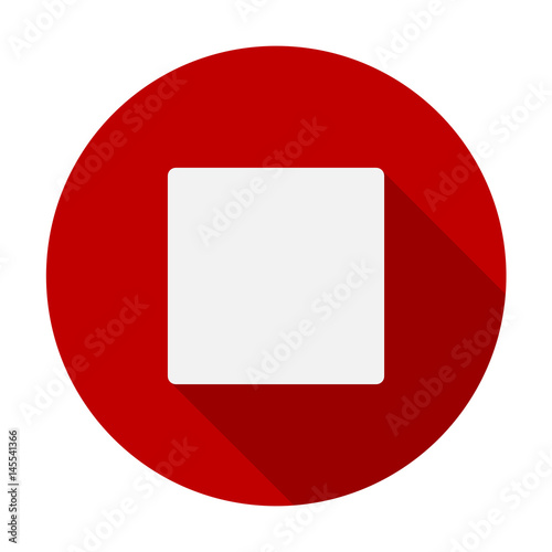 Stop Button Flat Icon Symbol, a hand drawn vector